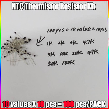 100gab=10value*10pcs NTC Thermistor Rezistoru Komplekts NTC-MF52AT 1K 2K 3K 4.7 K 5K 10K, 20K 47K 50K 100K +-5% 3950B 96504